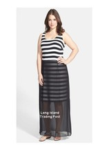 Vince Camuto Black Chiffon Overlay Stripe Stretchy Maxi Dress Exposed Zi... - $34.95