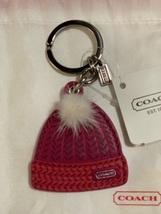 NWT COACH  67383 Leather & Mink Pom Pom Knit Hat Key Chain, Key Fob, Cha... - $40.00