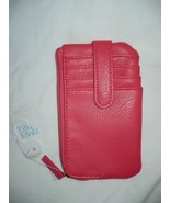 Time And Tru Ladies Card Case Solid Coral Punch Color W Zip Pouches NEW - £8.32 GBP