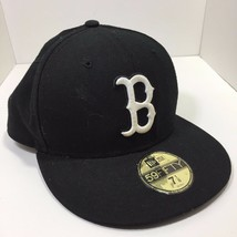 New Era 59Fifty Baseball Cap Boston Red Sox Black White Outline Fitted 5950 - €12,85 EUR