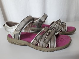 5a4d87a39930 Women  39 s TEVA Silver Sport Sandals Slingback Hiking Beach Sandals Size 4  -