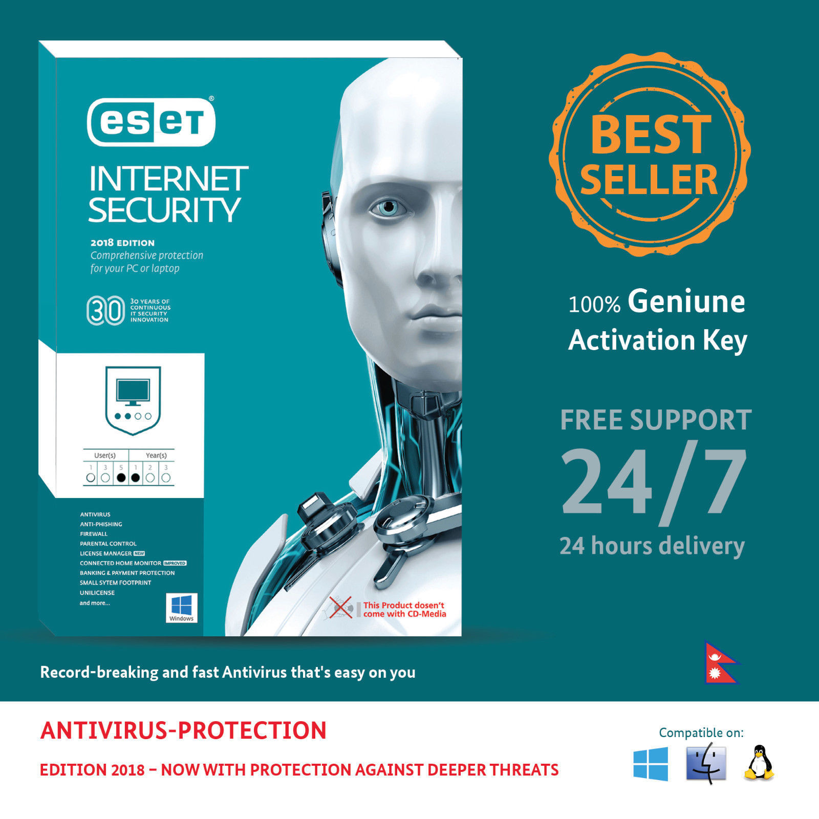 Primary image for ESET Internet Security 5 PCs / 1 Year  - Nepal Online Key in eBay message