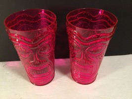 "NEW Hard Plastic Hot Pink Tiki Tumbler Cup 6"" tall 3.5"" diam Lot of 2 to... - $10.39"