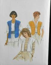 Vogue 8340 Womens 6-10 loose unlined waist length cap sleeves mock bands... - $8.90