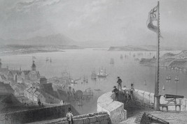 CANADA View from Citadel of Quebec - 1840s Engraving Print by BARTLETT - $15.44