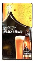 "Budweiser Black Crown Metal Beer Sign 30""x15"" - New - $18.65"