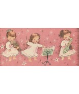 Vintage Christmas Card Angel Band Pink Silver Trim Sunshine With Envelope - $12.86