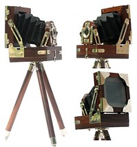 New Antique Vintage Look Film Camera Wooden Tripod Collectible Studio Gi... - $63.73