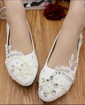Women's White Wedding Shoes,Lace Wedding Shoes,White bridal shoes flats ... - £32.17 GBP