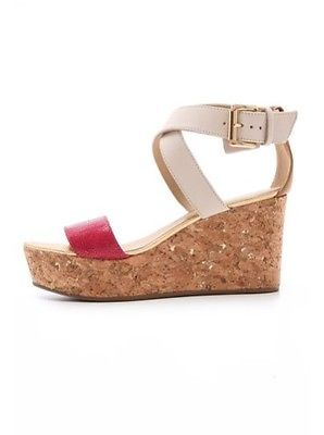 Juicy Couture Forrest Cork Wedge Sandals Color-Block Pink NWB Sz 8.5 & 9.5