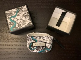 Gucci Authentic Luxury Ivory White Jewelry Box & Pouch Green Snake/Flora... - $25.69