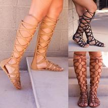 Fashion Gladiator Sandals Woman Flat With Summer Shoe Ladies Sexy Casual Knee-hi
