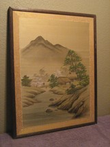 Bridge Over Stream Mountains in Background Oil On Canvas Wood Picture Frame - $13.98