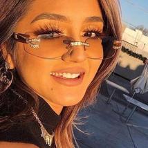 2021 Luxury Diamond Rimless Frame Fashion Eyewear Glasses image 4