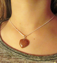 Goldstone Heart Pendant with 925 Silver overlay Chain - $9.00