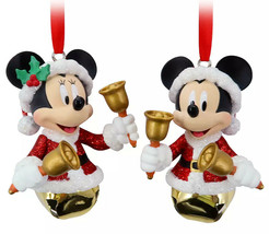 NEW Disney Parks Santa Mickey & Minnie Mouse Bell Christmas Ornament Set... - $29.69