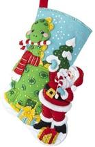 DIY Bucilla Dino Santa Dinosaur Green Christmas Holiday Felt Stocking Ki... - $36.95