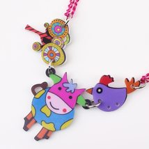 cow necklace pendant acrylic pattern 2016 news accessories spring summer cute an image 3