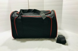 Pet Carrier Airline Approved Expandable Foldable Black Red New - $24.70