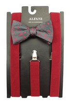 NEW ALFANI FLORAL PRE-TIE BOW TIE & FITS ALL CLIP-END RED SUSPENDERS $65 - $19.79