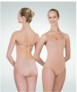 Body Wrappers 277 Women's Large Nude Microfiber Leotard w/ Clear Back Strap - $22.76
