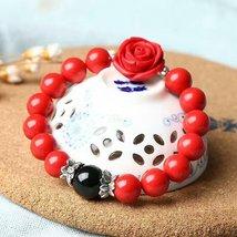 Natural Cinnabar Prayer Beads Tibetan Buddhist carving Lucky Rose Pendan... - $28.80