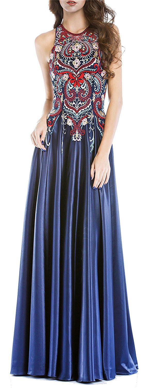 Womens 2018 Halter Embroidery Navy Homecoming Dresses Open Back Long Prom Dress