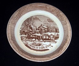 """Royal China Currier & Ives BROWN 10"""" Pie Dish """"American Farm Scene""""~Scro... - $12.86"""