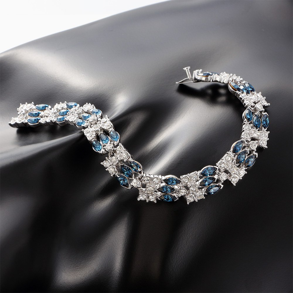 Kemstone Blue Cubic Zirconia Chain Tennis Bracelet Silver Plated Women Party Jew