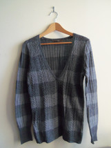 The Limited Stitched Pointelle V-neck Sweater Acrylic Wool Gray Size L P... - $24.99
