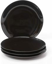 "Set of 4 Kitchen Plates Dining Set Dinnerware Plates Black Stoneware 8"" ... - $27.11"