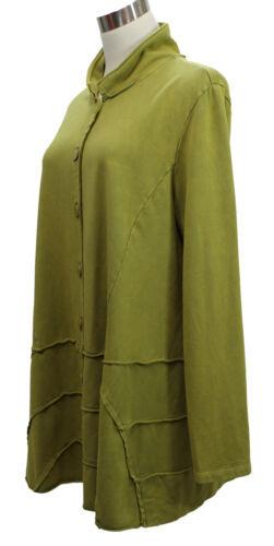 CHALET et ceci Womens Cardigan Jacket Stretch Hemp Raw Edge Button Down Green L