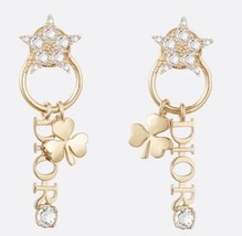 AUTH Christian Dior 2019 CLOVER CRYSTAL STAR HOOP DANGLE GOLD Earrings