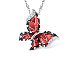 Women Red Butterfly Slide Necklaces Pendant 925 Sterling Silver Fashion Jewelry image 2