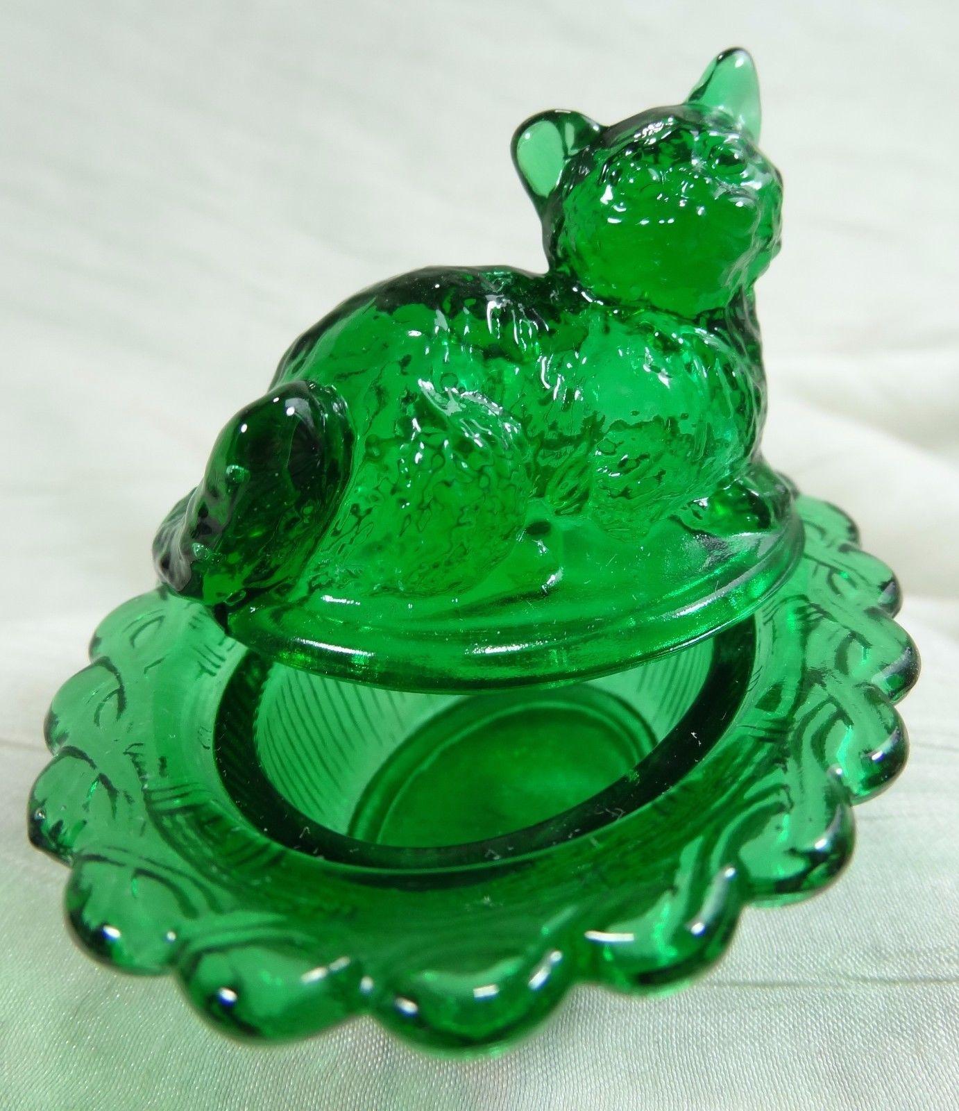Cat on Nest Salt Dip Hunter Green Glass Kitty Kitten