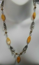 Vintage Designer Silver-tone Shell Mother of Pearl Necklace - $45.00