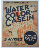 Old 1949 Art Book How To Work With Water and Color and Casein  by S. de ... - $24.45