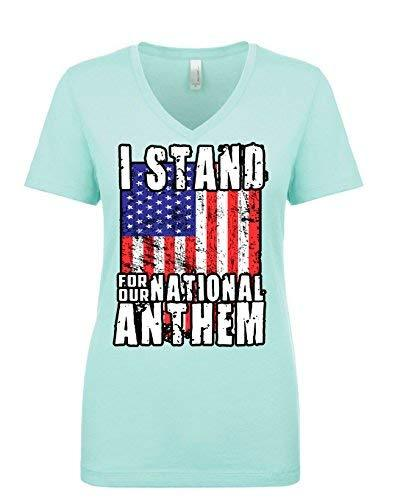 Primary image for Womens I Stand for The National Anthem V Neck T Shirt 2X-Large Mint