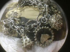 ANTIQUE/VINTAGE Unusual Heavy Stamped Silver Ornate Detailed Charm Bracelet - $349.99