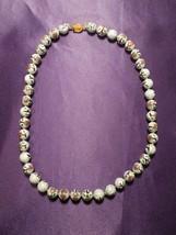 Vintage Enamel Flower Beaded Clasped Necklace - $39.60