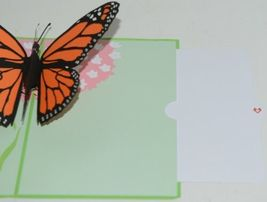 Lovepop LP1583 Butterfly PopUp Card SlideOut Note White Envelope Cellophane Wrap image 4