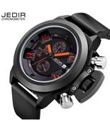 Jedir 47mm Chronograph White \ Black silicone Navy quartz Watch Sapphire... - $34.99