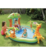 Intex Jungle Inflatable Swimming Pool Play Center with Slide Sprayer Kid... - $95.99
