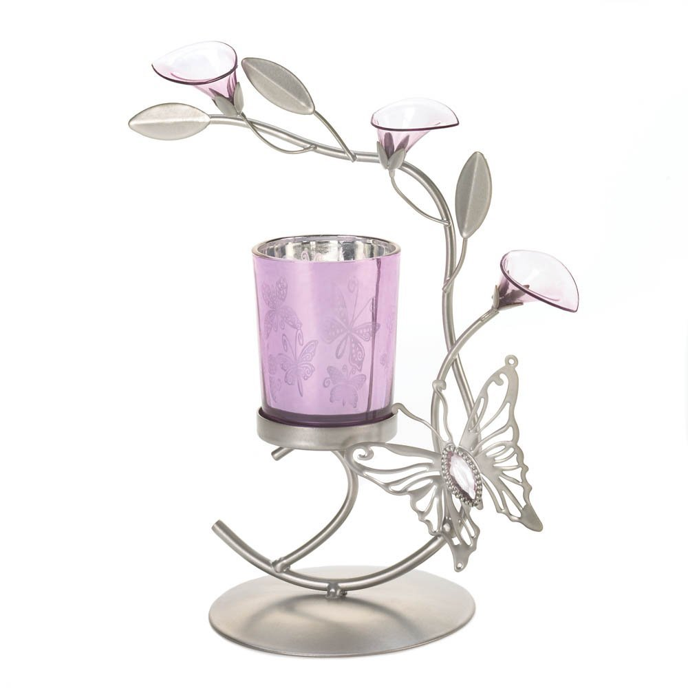 Candle Holders Flower, Colored Decorative Candle Holder Metal - Butterfly Lily