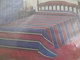 "NOS CANNON MONTICELLO New Belvedere RED/BLUE STRIPE Twin BEDSPREAD - 72""... - $19.80"