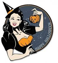 Witch Wishing a Happy Halloween Plasma Metal Sign - $39.95