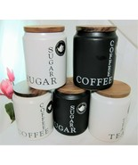 The Old Pottery Company Coffee Sugar Ceramic Canister Jar Wooden Lid - u... - $23.74