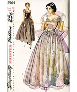 Vintage 1940's Evening Gown Cocktail Prom Dress Simplicity Pattern 2964 Size 14 - $40.00
