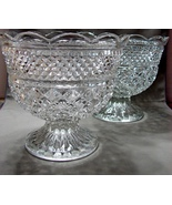Two Matching Anchor Hocking Wexford Footed Bowls 7 Inches Tall - $24.99