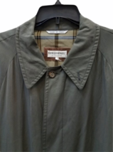 """Vintage Giorgio Armani Long Olive Green Trench Rain Coat 54"""" Chest Made in Italy image 2"""